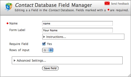 Database Field Settings
