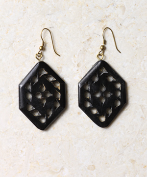 Horn Hexagon Earrings