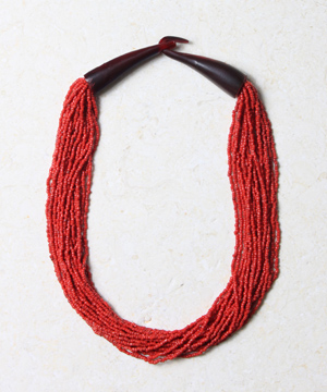Coral Bead Necklace with Horn Clasp