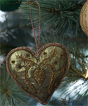 Copper Beaded Heart Ornament