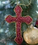 Beaded Cross Ornament in Red