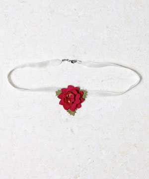 Rose On Organza Ribbon Necklace