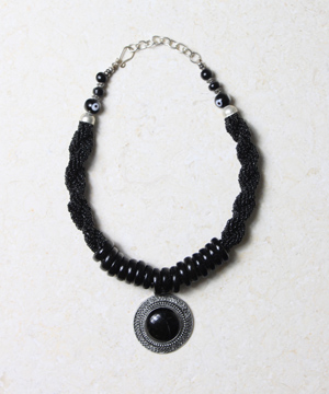 Black Bead and Glass Necklace