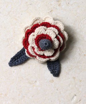 Red and White Many Frills Brooch