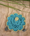 Scalloped Brooch In Turquoise 