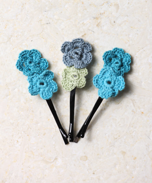 Turquoise Blossoms Hair Pins
