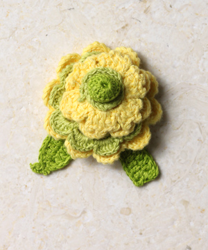 Many Frills Brooch, Lemon Lime