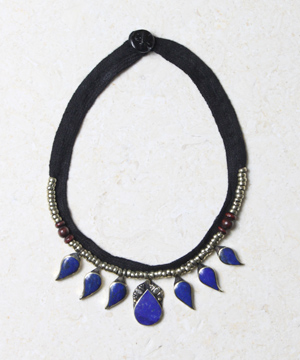 Lapis and Fabric Necklace