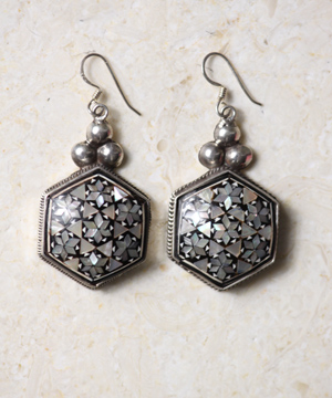 Hexagon Pearl Earrings