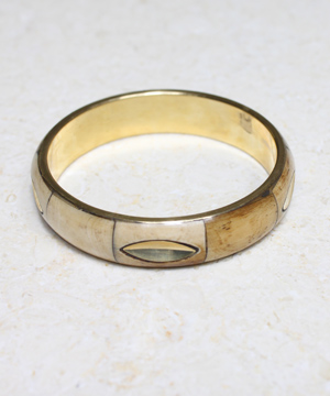 Bone Bangle with Oval Brass Inlay