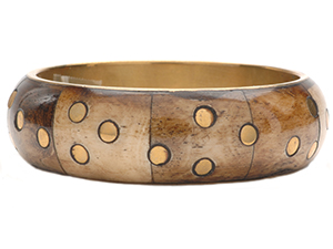 Bone Bangle with Dot Brass Inlay