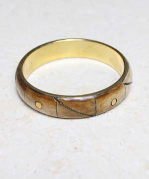 Bone Bangle with Dot and Line Brass Inlay