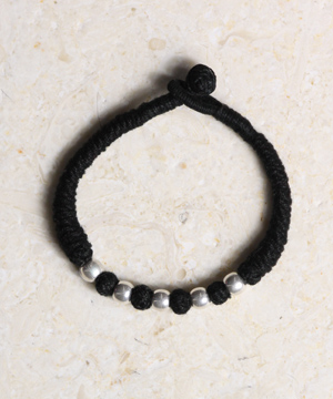 Threaded Bracelet with Sterling Beads