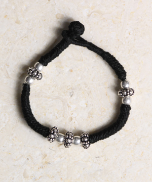 Threaded Bracelet with Sterling and Spacer Beads