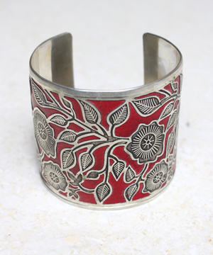 Red with Metal Flower Design