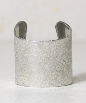 Silver Floral Etched Cuff