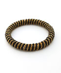 Maasai Bangle Bracelet, Gold & Black Diagonal