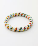 Maasai Bangle Bracelet, White Multicolored