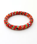 Maasai Bangle Bracelet, Red Multicolored