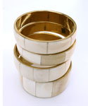 Bone & Brass Bangle Set, Cream