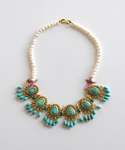 Turkish Goldtone Simulated Turquoise & Cultured Freshwater Pearl Necklace