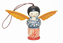 Blue & Red Wood Angel Ornament