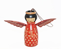 Red Wood Angel Ornament