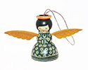 Dark Green Wood Angel Ornament