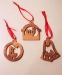 Olive Wood Nativity Ornaments Set of 3