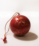 Red & Gold Floral Ball Ornament