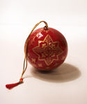Red & Gold Snowflake Ball Ornament