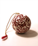 Red & White Floral Ball Ornament