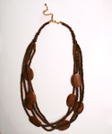 Maz-boot, Wooden Bead and Oval Disk Multi Layered Necklace Brown