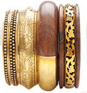 Brass And Wood Bangle Set of 5