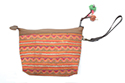 Orange Chevron Makeup Pouch with Wristlet and Leather Trim