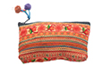 Orange Striped and Floral Pouch