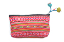 Pink and Orange Striped Pouch