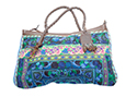 Blue Embroidered Weekend Bag with Leather Trim