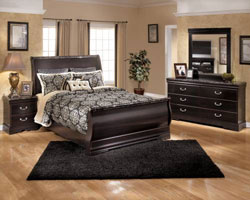 Ashley Esmarelda 6 Piece Bedroom Group Has Dark Merlot Finish And High  Gloss Thick Faux Marble