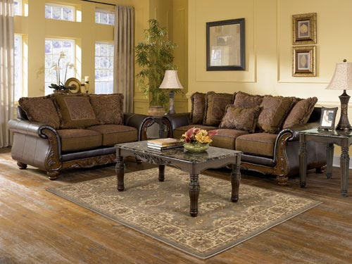 rent ashley wilmington walnut sofa and loveseat
