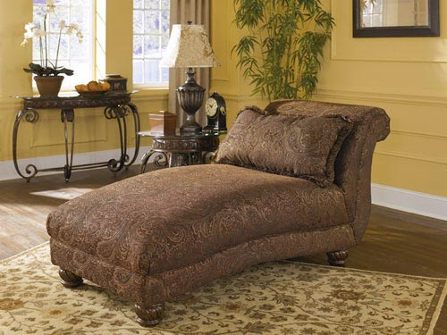 Ashley wilmington walnut chaise for Ashley furniture leather chaise