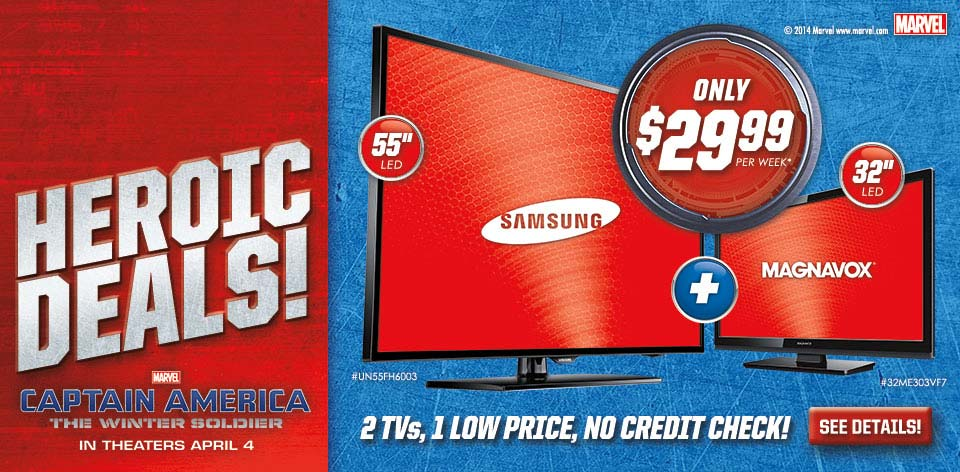 Heroic Deals! 2 TVs, One Low Price, No Credit Check! - Marvel - Captain America - The Winter Soldier