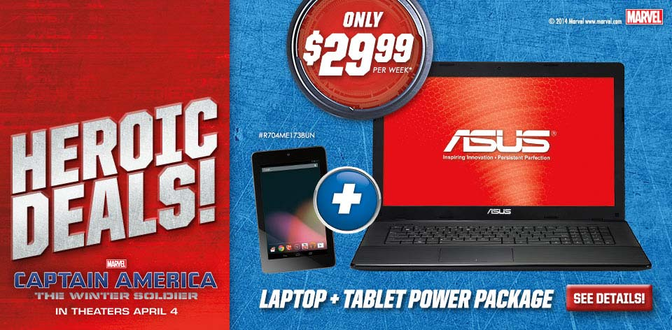 Heroic Deals! Laptop + Tablet Power Package - Marvel - Captain America - The Winter Soldier